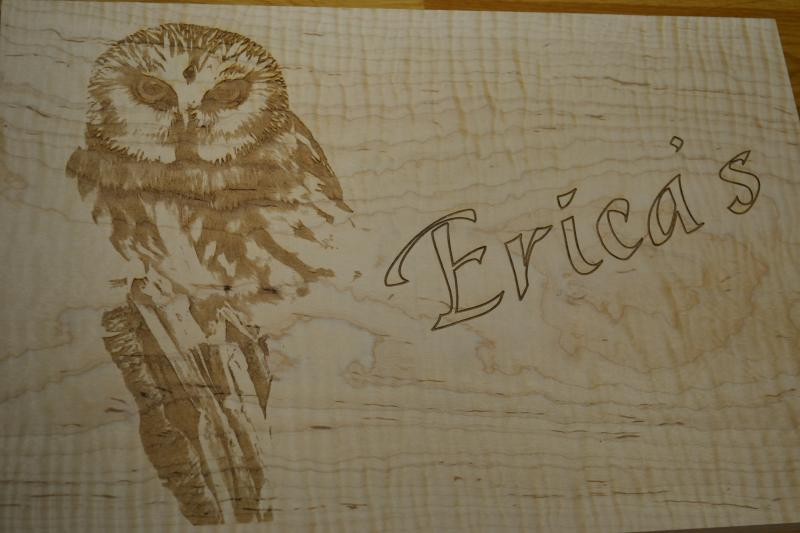 Owl Lasering Portrait in Tiger Maple