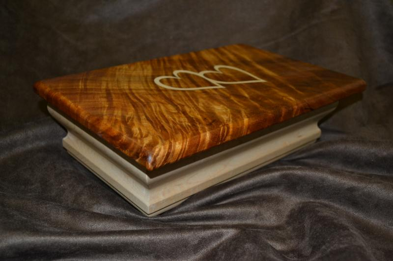 Custom made exotic wood jewelry box with Hawaiian Koa top