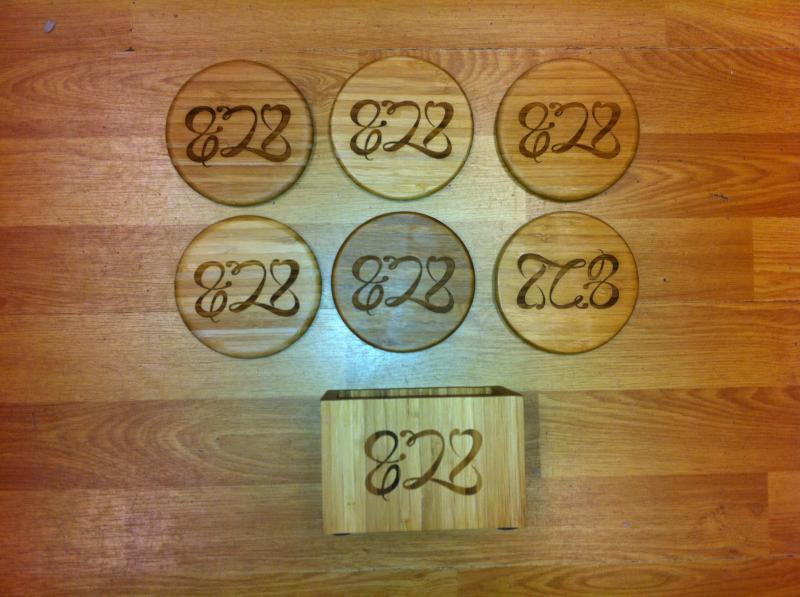 Set of Food Network Coasters burned into bamboo, (any wood can be used)
